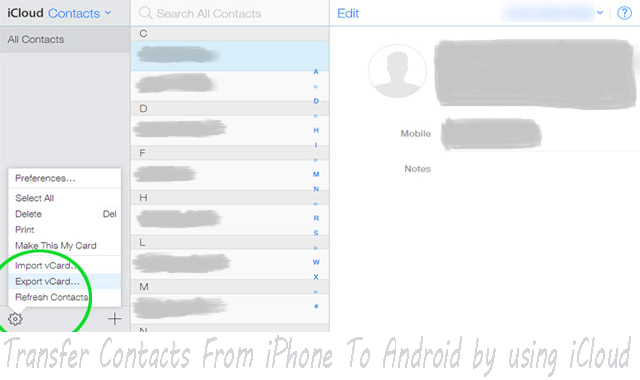 How To Transfer Contacts From iPhone To Android by using iCloud
