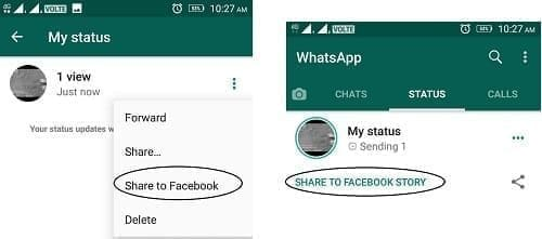 Whatsapp to Facebook story